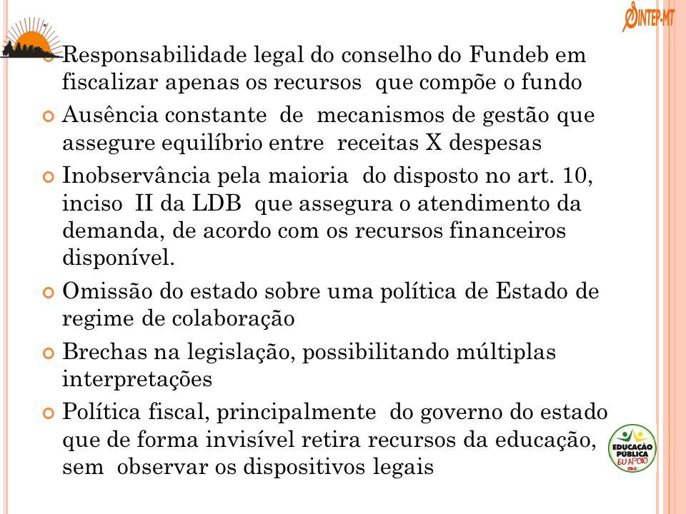 . Responsabilidade legal do conselho do Fundeb em fiscalizar apenas os recursos que compõe o fundo.