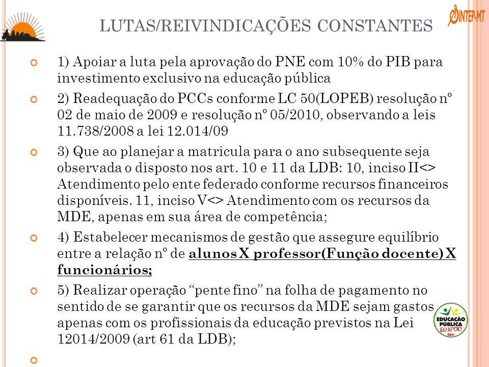 LUTAS/REIVINDICAÇÕES CONSTANTES