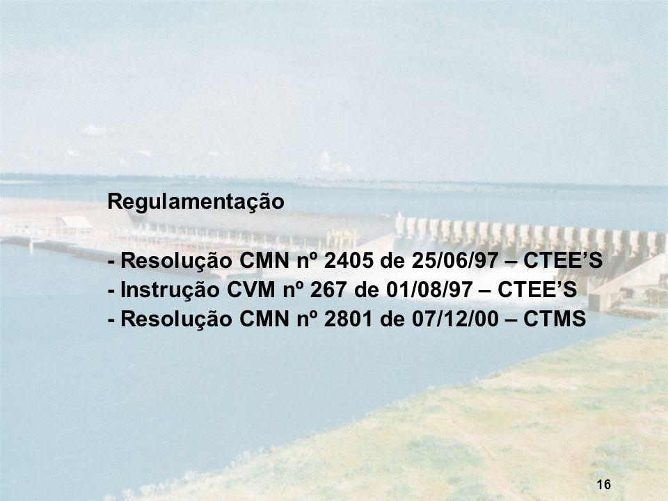 Regulamentação - Resolução CMN nº 2405 de 25/06/97 – CTEE'S. - Instrução CVM nº 267 de 01/08/97 – CTEE'S.