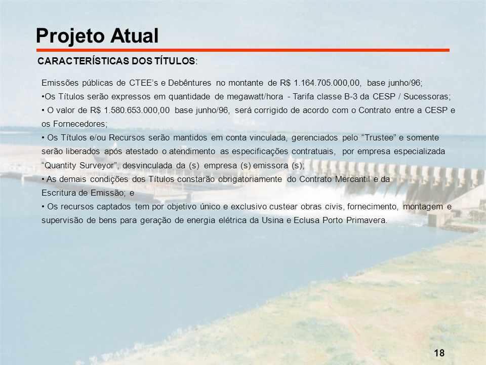 Projeto Atual CARACTERÍSTICAS DOS TÍTULOS: