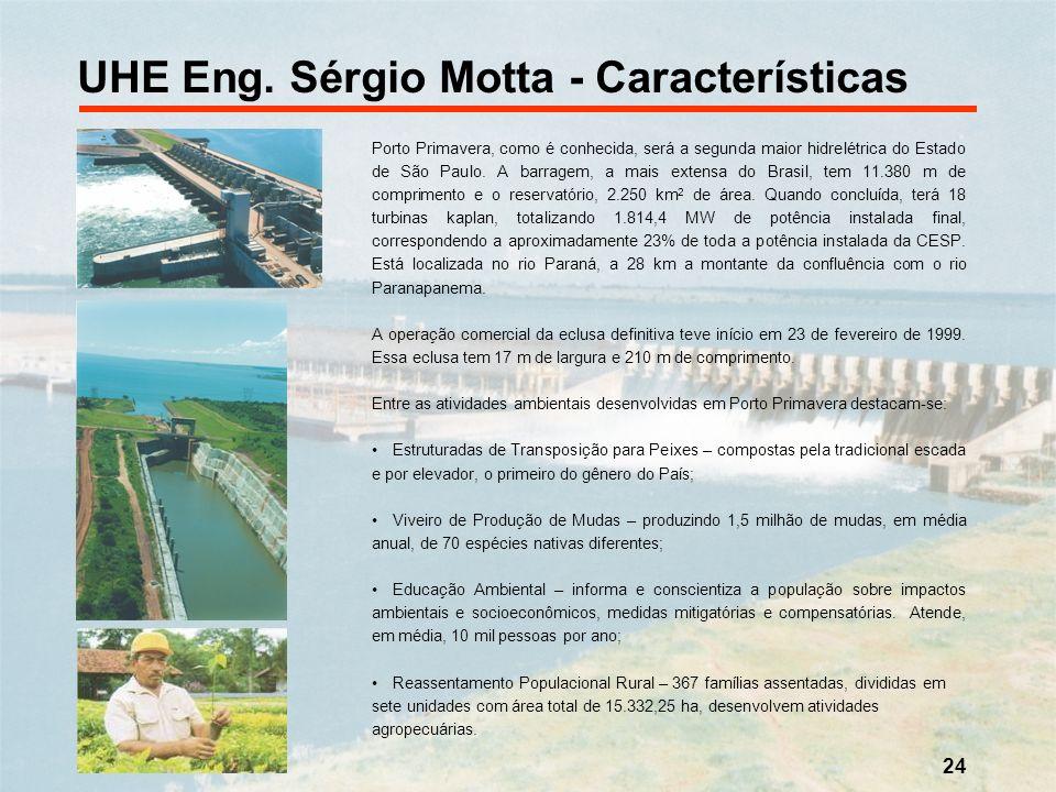 UHE Eng. Sérgio Motta - Características