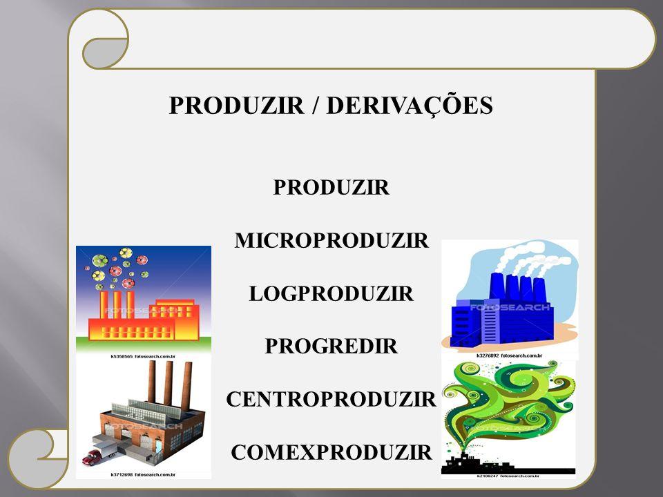PRODUZIR / DERIVAÇÕES PRODUZIR MICROPRODUZIR LOGPRODUZIR PROGREDIR