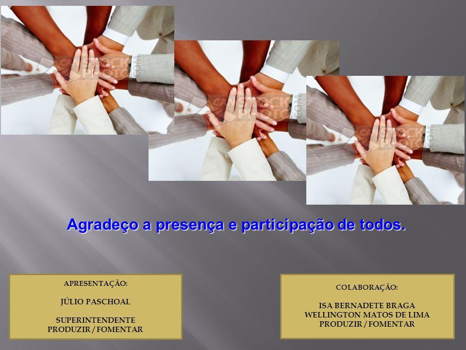 Agradeço a presença e participação de todos. WELLINGTON MATOS DE LIMA