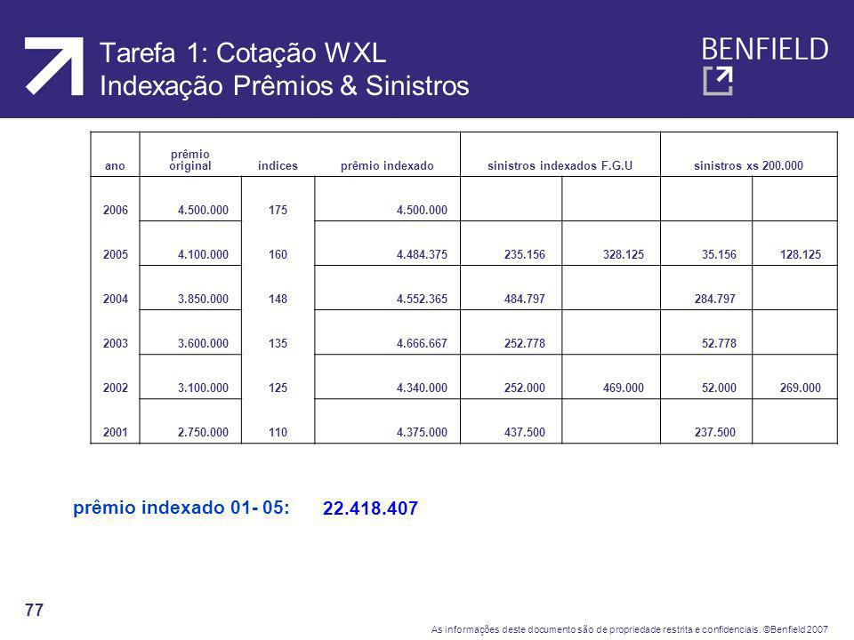 Tarefa 1: Cotação WXL Indexação Prêmios & Sinistros