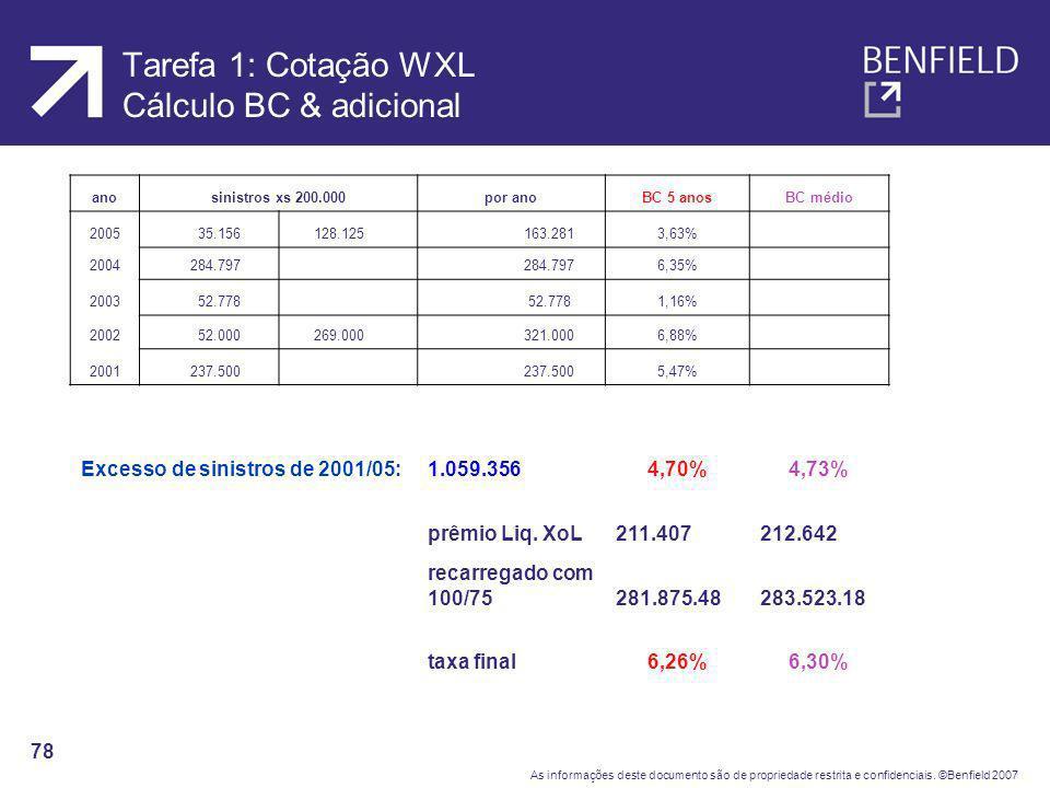 Tarefa 1: Cotação WXL Cálculo BC & adicional