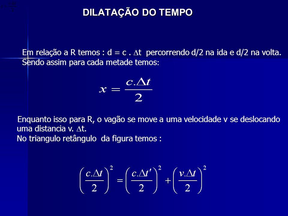 DILATAÇÃO DO TEMPO Em relação a R temos : d = c . t percorrendo d/2 na ida e d/2 na volta. Sendo assim para cada metade temos: