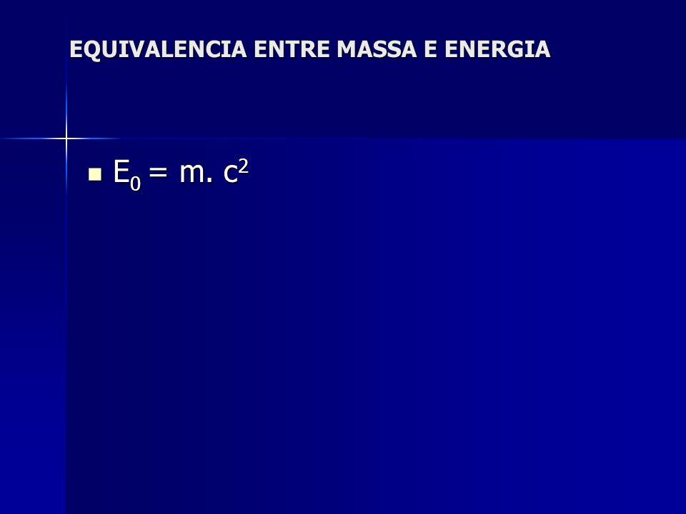 EQUIVALENCIA ENTRE MASSA E ENERGIA