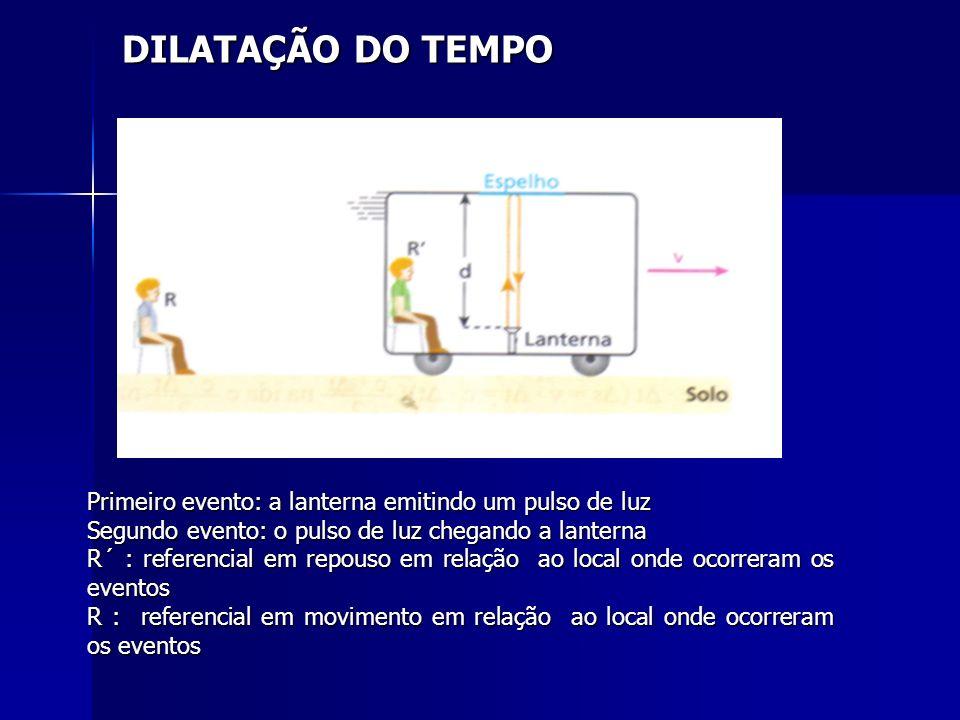 DILATAÇÃO DO TEMPOPrimeiro evento: a lanterna emitindo um pulso de luz. Segundo evento: o pulso de luz chegando a lanterna.