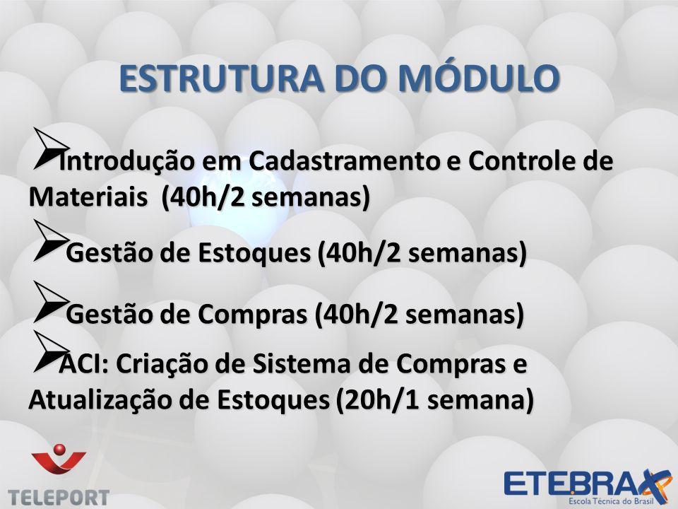 Estrutura do módulo Introdução em Cadastramento e Controle de Materiais (40h/2 semanas) Gestão de Estoques (40h/2 semanas)