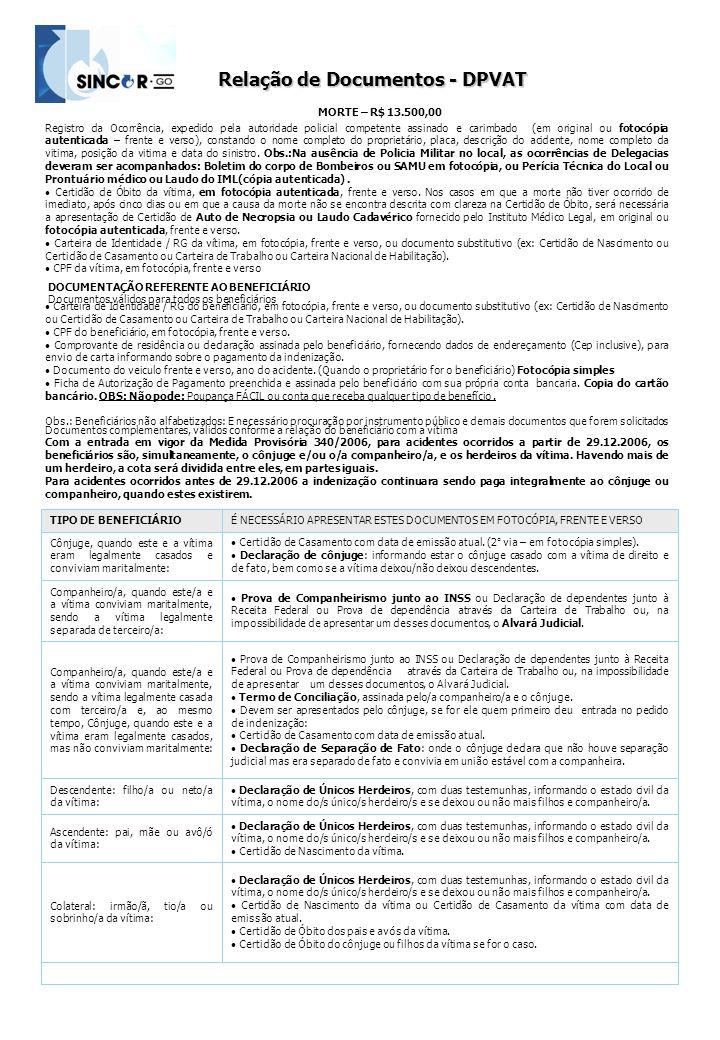 Relação de Documentos - DPVAT