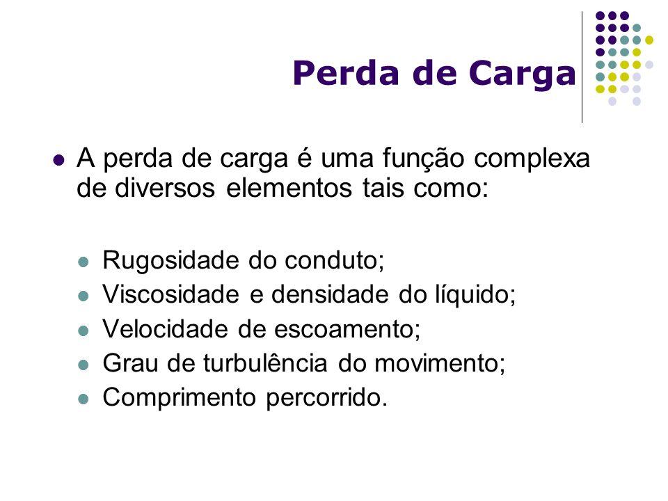 Perda de Carga A perda de carga é uma função complexa de diversos elementos tais como: Rugosidade do conduto;