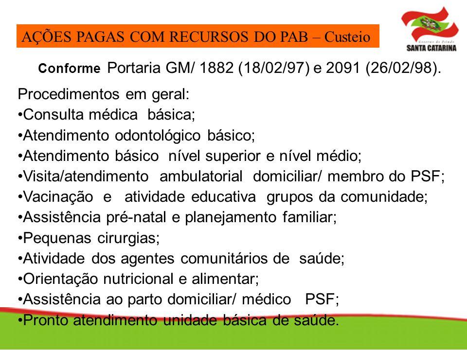 Conforme Portaria GM/ 1882 (18/02/97) e 2091 (26/02/98).