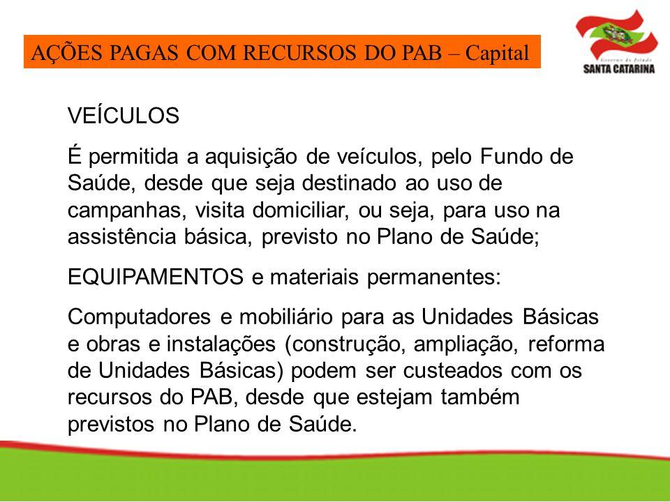 AÇÕES PAGAS COM RECURSOS DO PAB – Capital