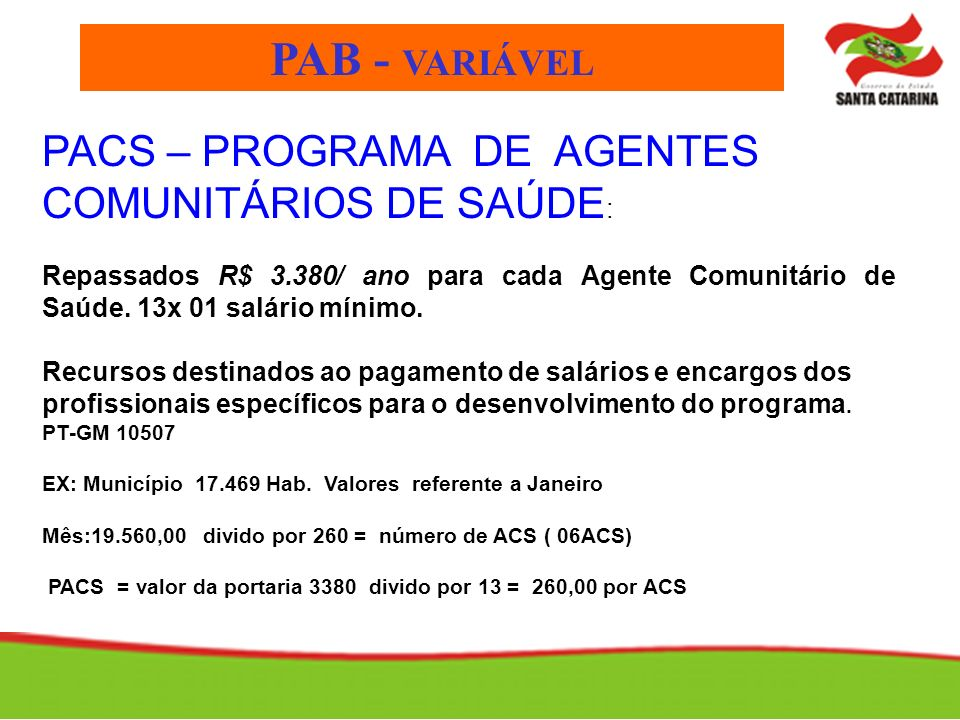 PAB - VARIÁVEL PACS – PROGRAMA DE AGENTES COMUNITÁRIOS DE SAÚDE: