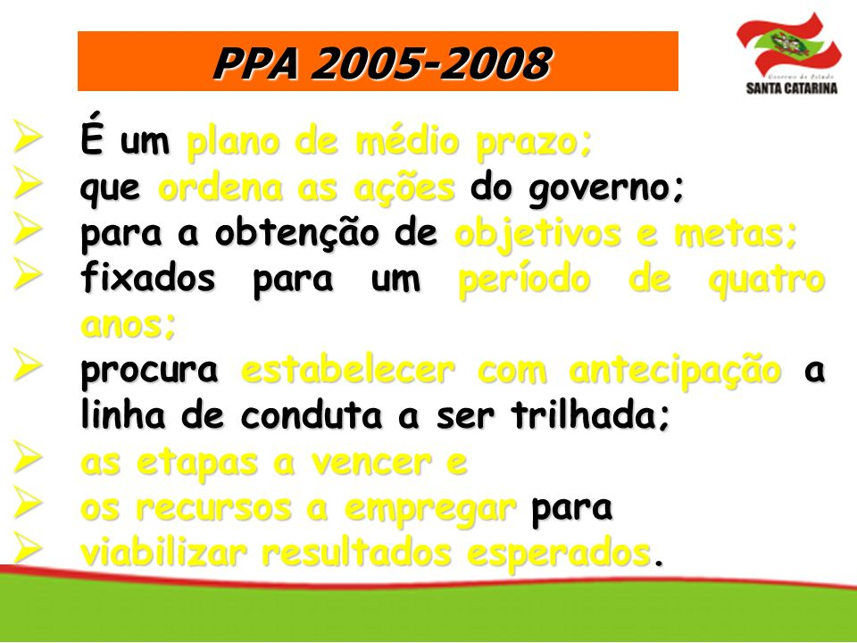 PPA 2005-2008 É um plano de médio prazo;