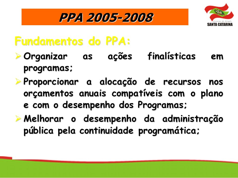 PPA 2005-2008 Fundamentos do PPA: