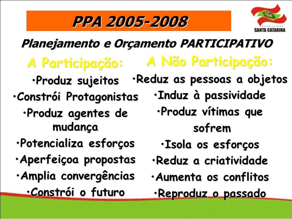 PPA 2005-2008 A Não Participação: A Participação: