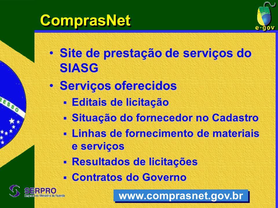 ComprasNet Site de prestação de serviços do SIASG Serviços oferecidos