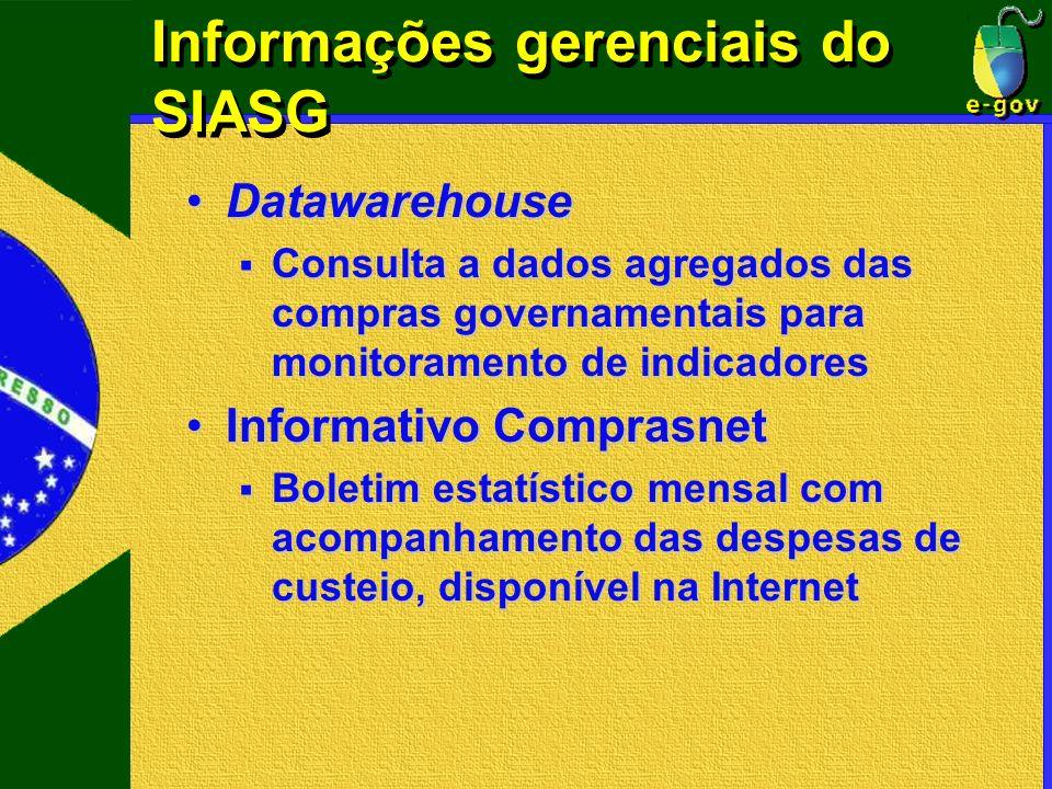 Informações gerenciais do SIASG