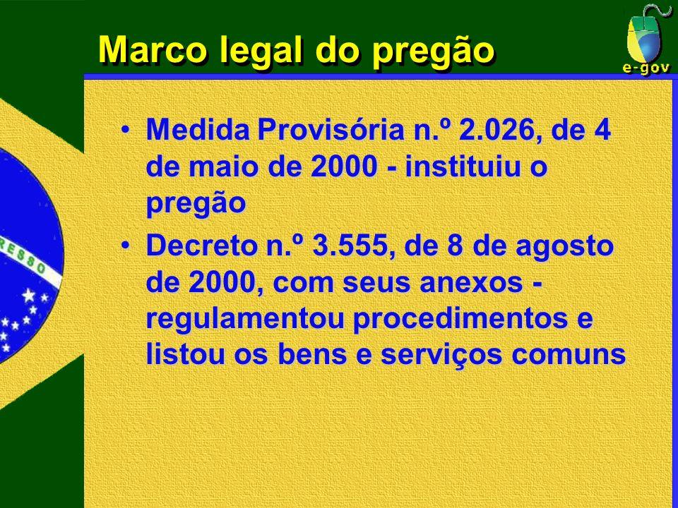 Marco legal do pregão Medida Provisória n.º 2.026, de 4 de maio de 2000 - instituiu o pregão.