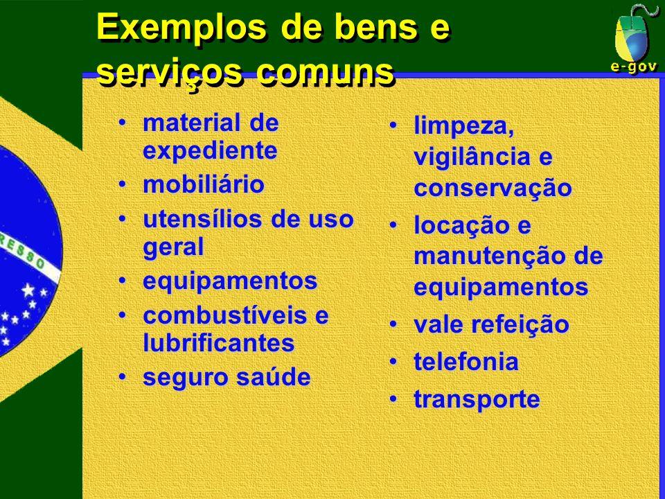 Exemplos de bens e serviços comuns