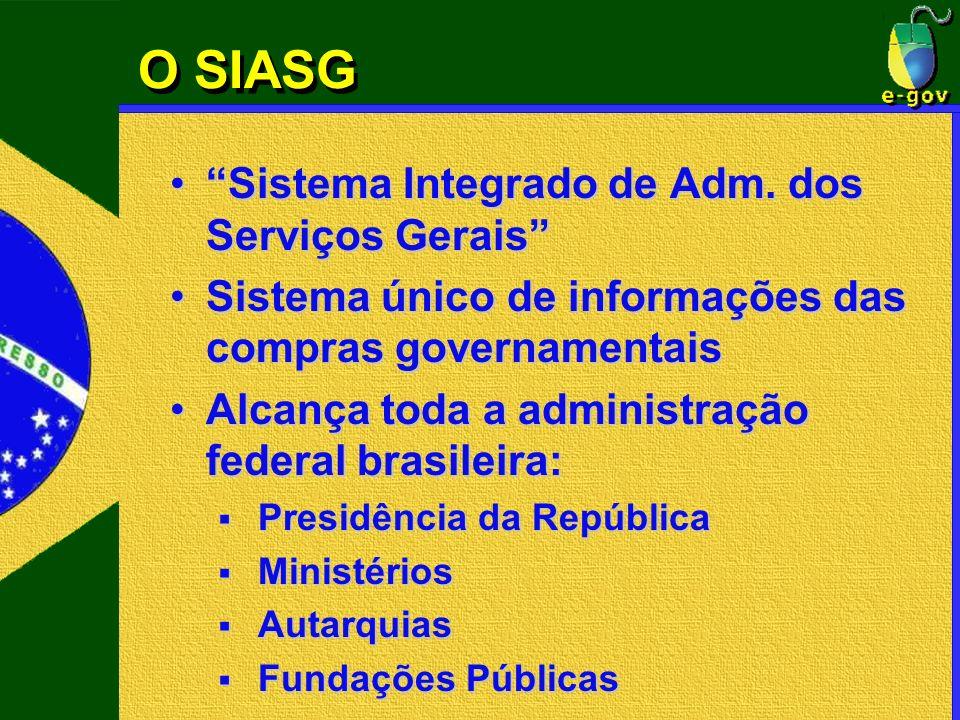O SIASG Sistema Integrado de Adm. dos Serviços Gerais