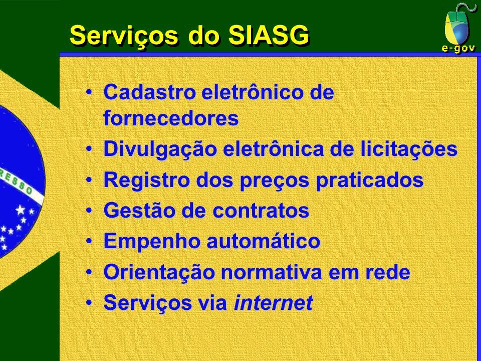 Serviços do SIASG Cadastro eletrônico de fornecedores