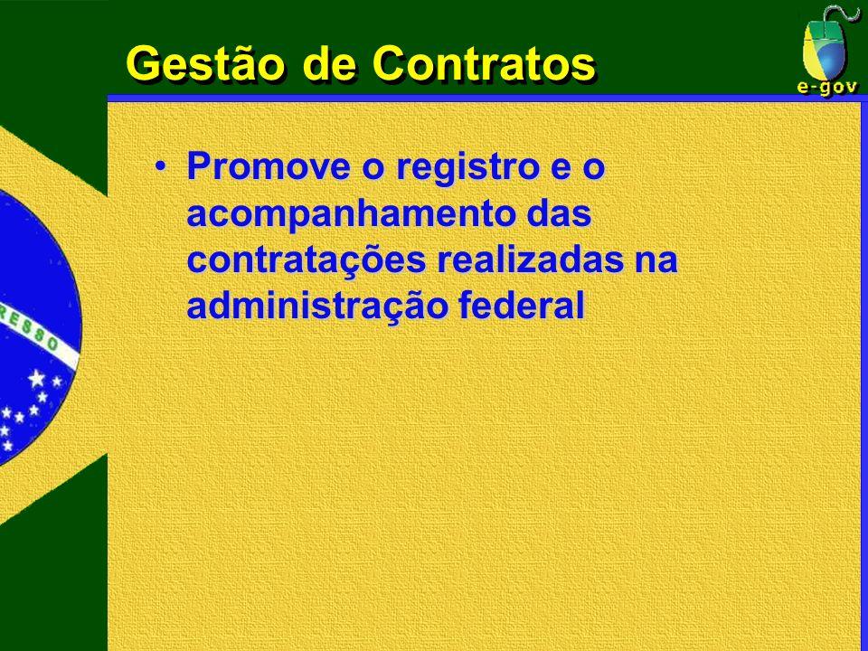 Gestão de Contratos Promove o registro e o acompanhamento das contratações realizadas na administração federal.