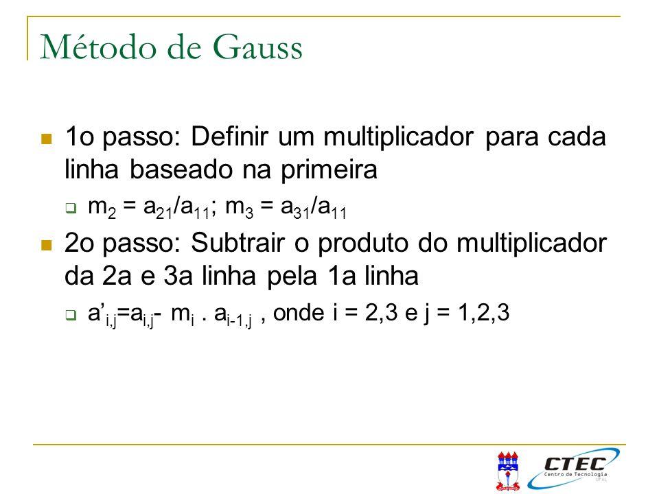 Método de Gauss 1o passo: Definir um multiplicador para cada linha baseado na primeira. m2 = a21/a11; m3 = a31/a11.