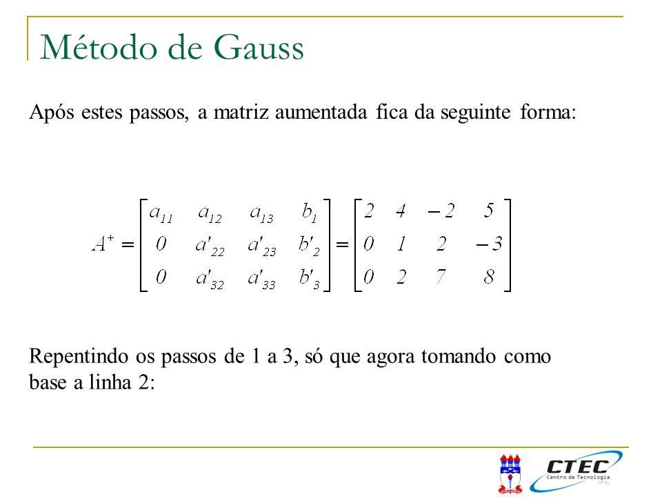 Método de Gauss Após estes passos, a matriz aumentada fica da seguinte forma: Repentindo os passos de 1 a 3, só que agora tomando como.