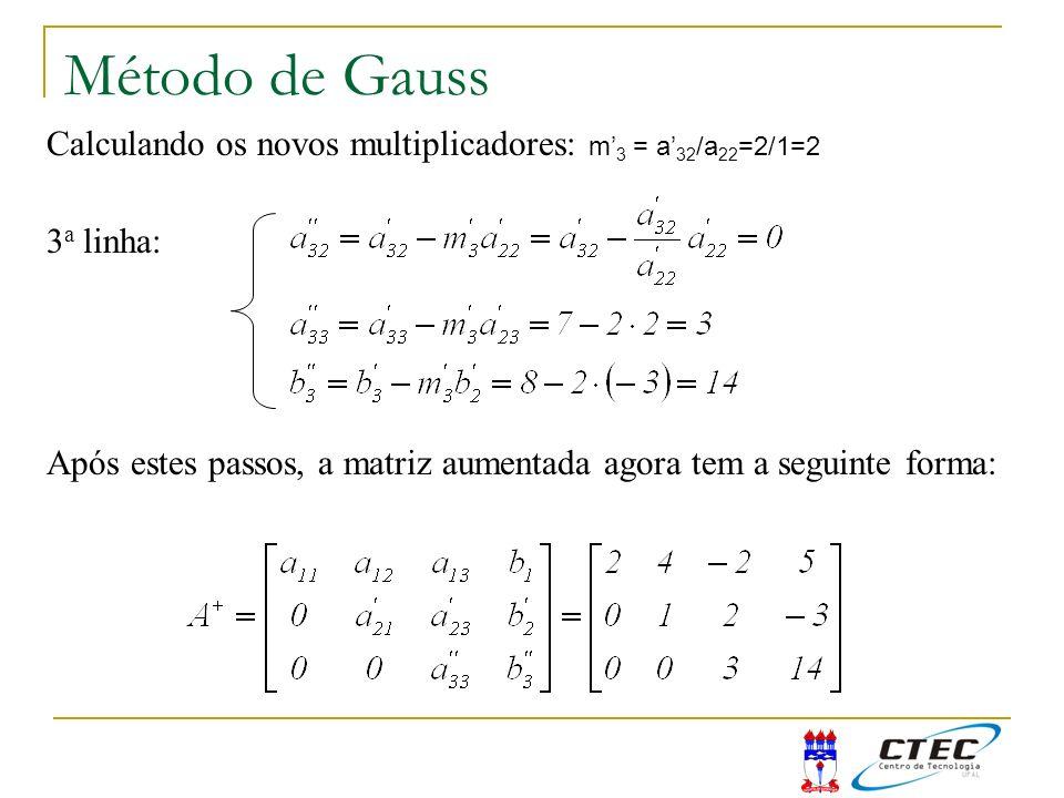 Método de Gauss Calculando os novos multiplicadores: m'3 = a'32/a22=2/1=2. 3a linha: