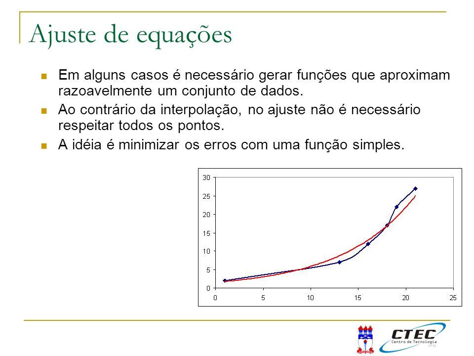 Ajuste de equações Em alguns casos é necessário gerar funções que aproximam razoavelmente um conjunto de dados.