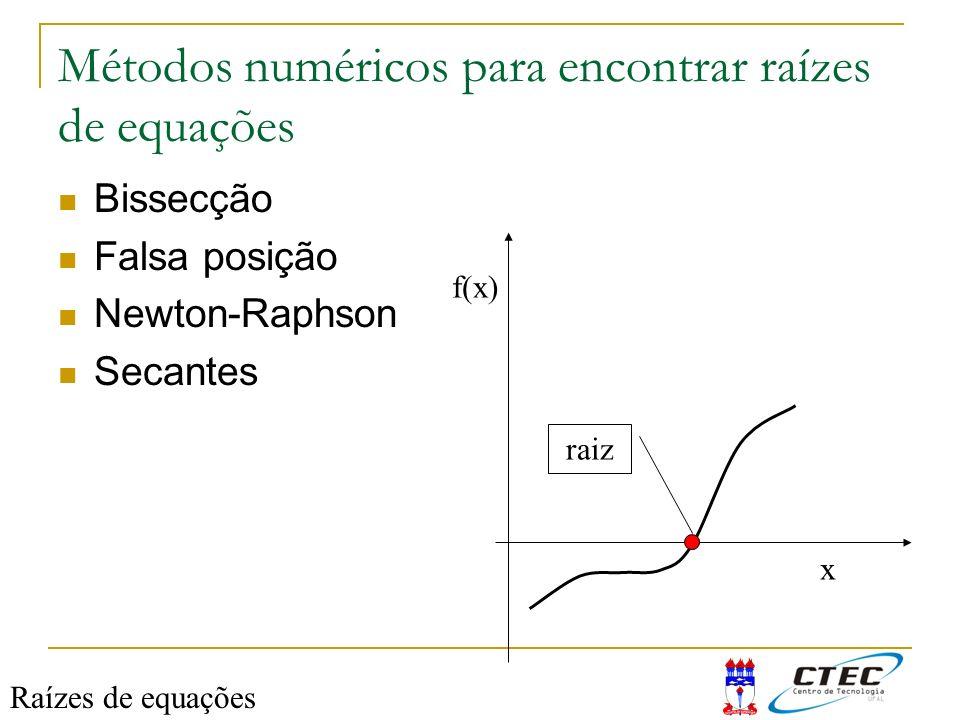 Métodos numéricos para encontrar raízes de equações