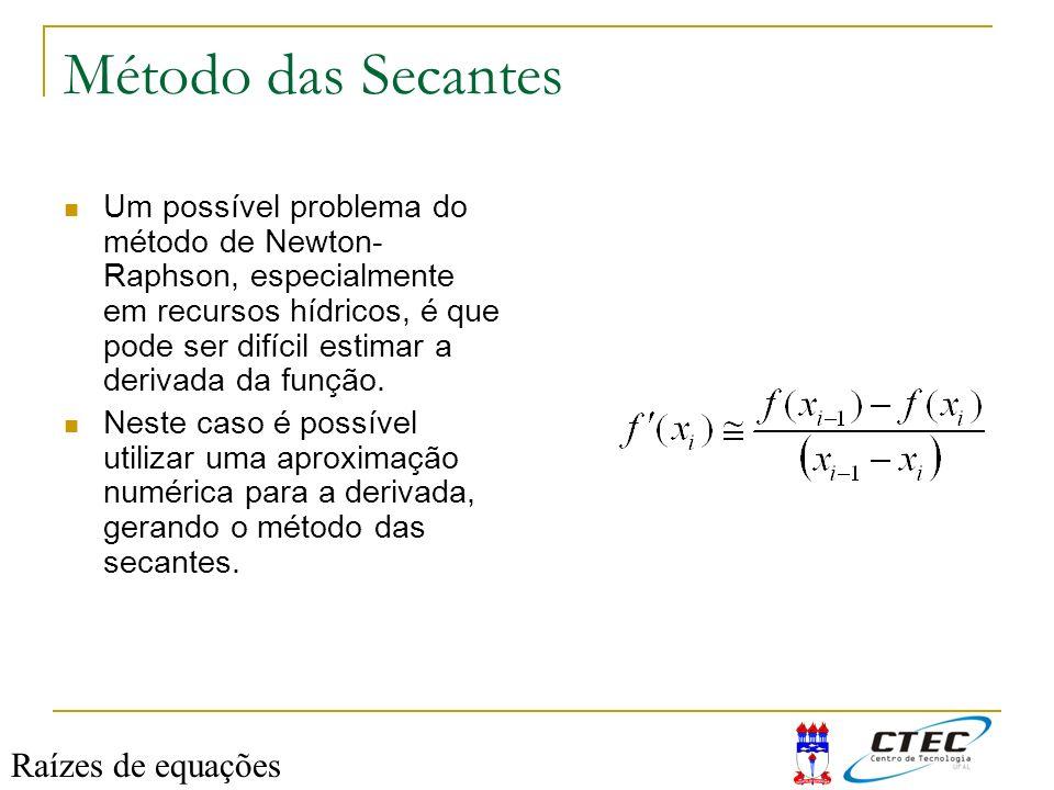 Método das Secantes Raízes de equações