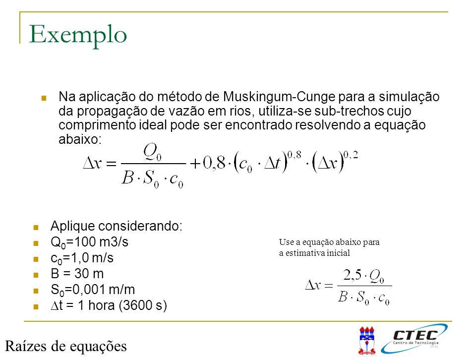 Exemplo Raízes de equações