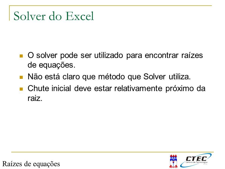 Solver do Excel O solver pode ser utilizado para encontrar raízes de equações. Não está claro que método que Solver utiliza.