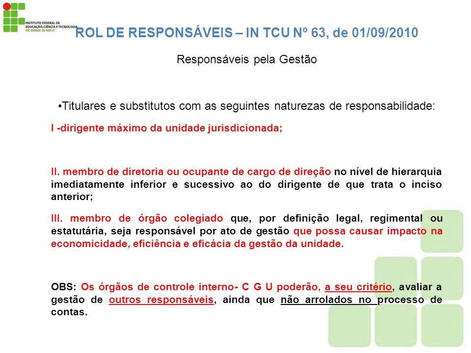 ROL DE RESPONSÁVEIS – IN TCU Nº 63, de 01/09/2010
