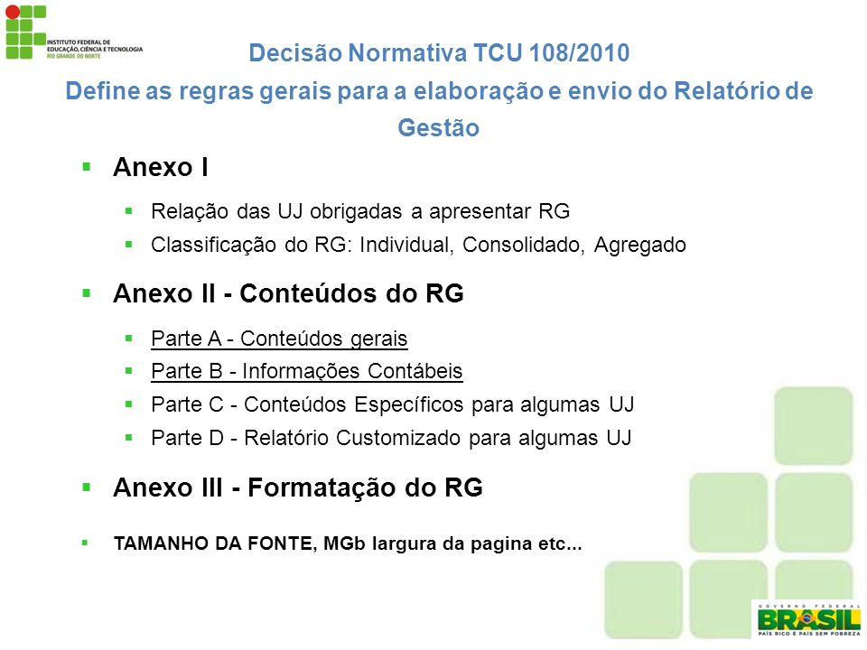 Anexo II - Conteúdos do RG