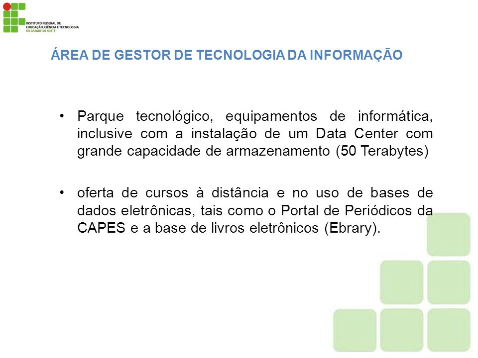 ÁREA DE GESTOR DE TECNOLOGIA DA INFORMAÇÃO