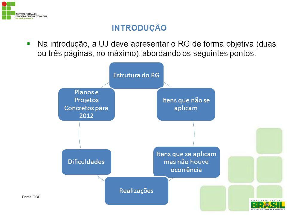 INTRODUÇÃONa introdução, a UJ deve apresentar o RG de forma objetiva (duas ou três páginas, no máximo), abordando os seguintes pontos: