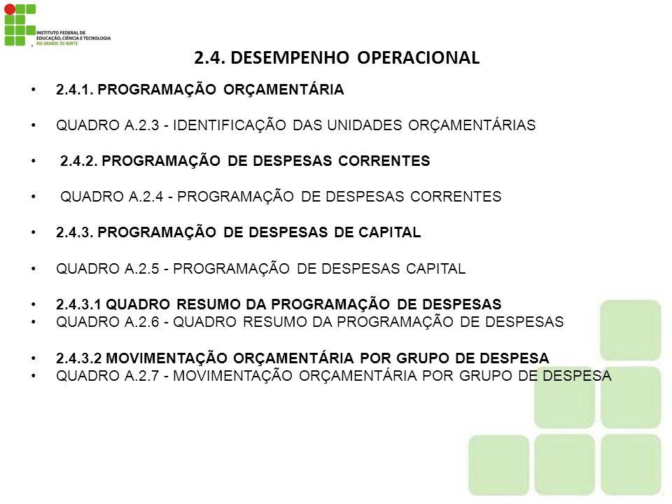2.4. DESEMPENHO OPERACIONAL