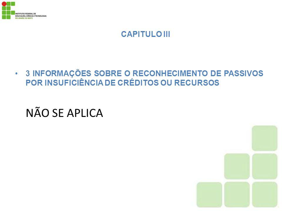 NÃO SE APLICA CAPITULO III