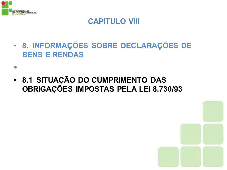 CAPITULO VIII 8. INFORMAÇÕES SOBRE DECLARAÇÕES DE BENS E RENDAS