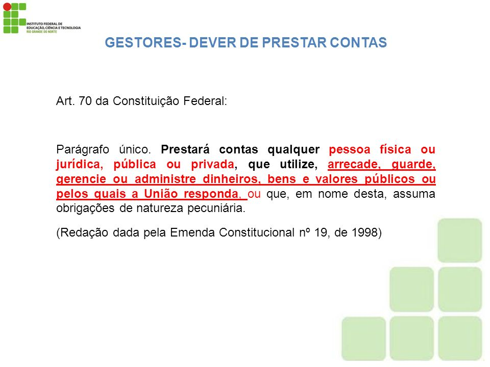 GESTORES- DEVER DE PRESTAR CONTAS