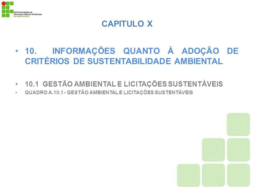 CAPITULO X 10. INFORMAÇÕES QUANTO À ADOÇÃO DE CRITÉRIOS DE SUSTENTABILIDADE AMBIENTAL. 10.1 GESTÃO AMBIENTAL E LICITAÇÕES SUSTENTÁVEIS.