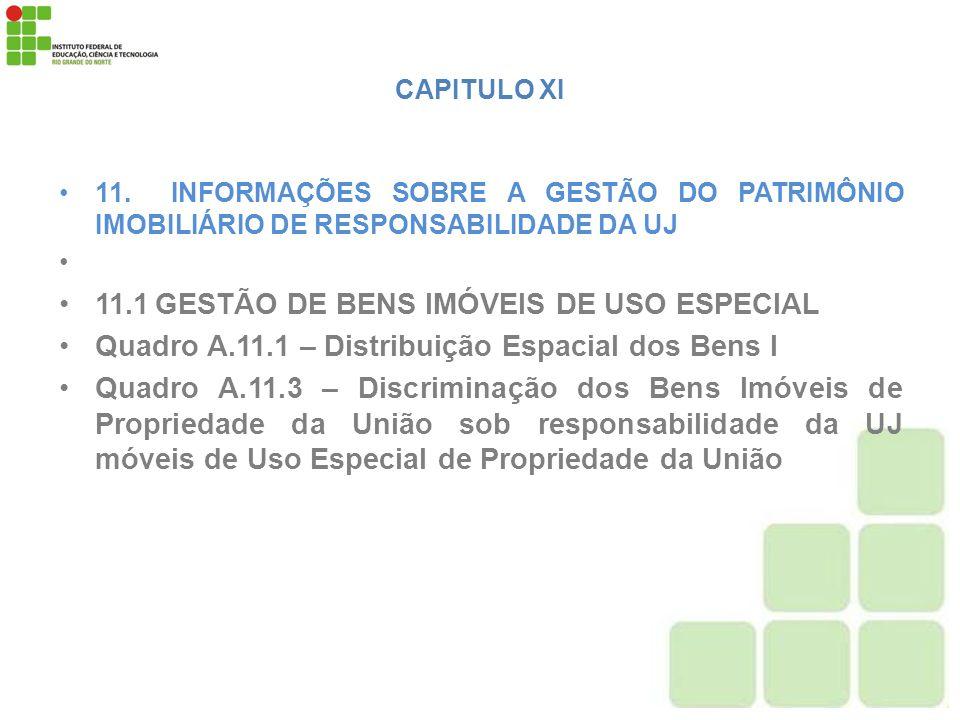 11.1 GESTÃO DE BENS IMÓVEIS DE USO ESPECIAL