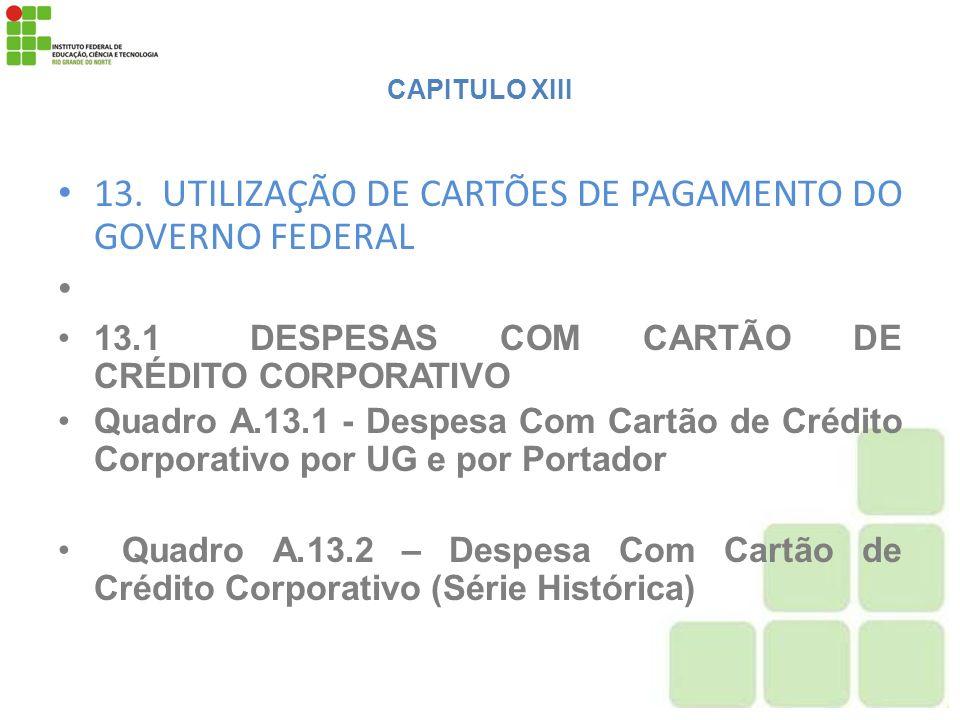 13. UTILIZAÇÃO DE CARTÕES DE PAGAMENTO DO GOVERNO FEDERAL