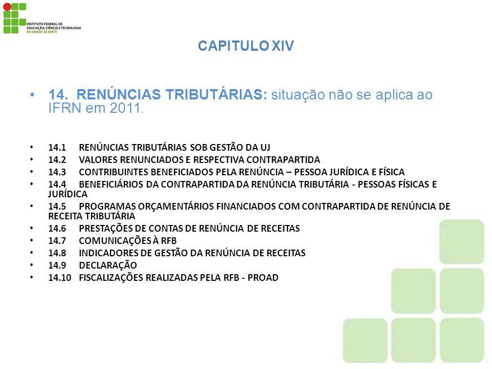 14. RENÚNCIAS TRIBUTÁRIAS: situação não se aplica ao IFRN em 2011.