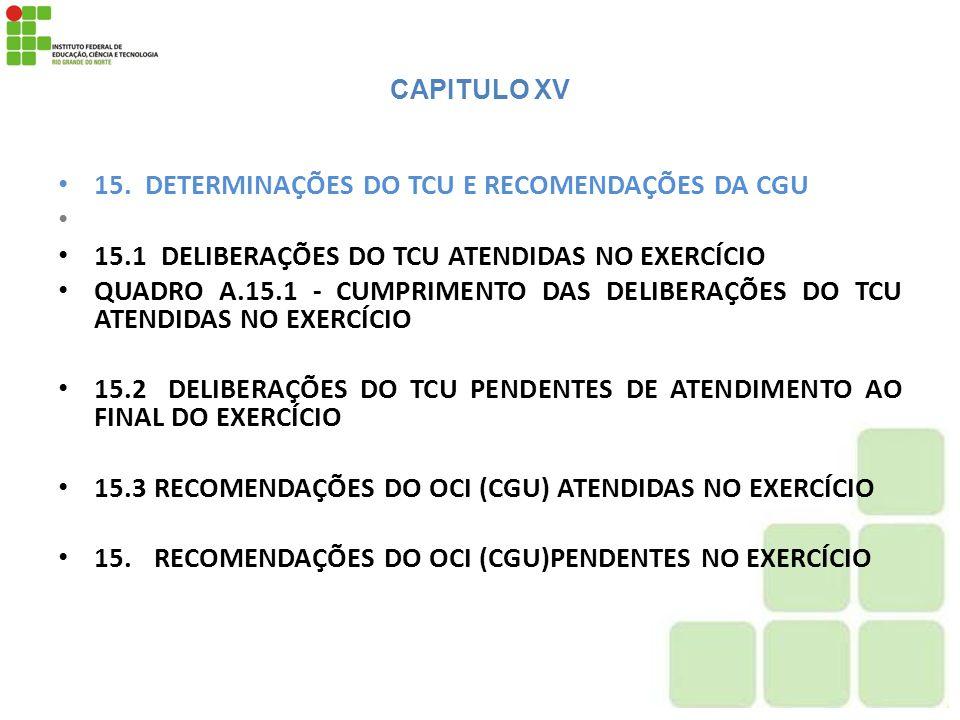 15. DETERMINAÇÕES DO TCU E RECOMENDAÇÕES DA CGU