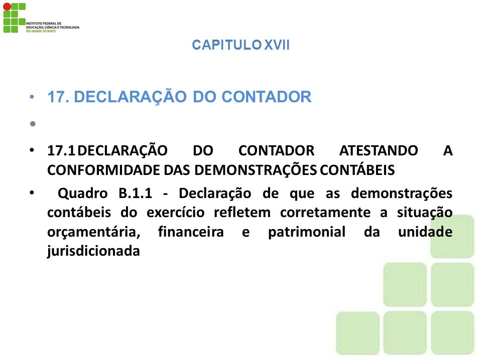 17. DECLARAÇÃO DO CONTADOR